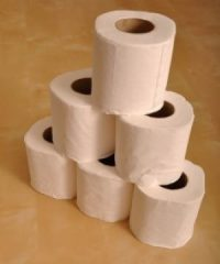 Stack of toilet rolls
